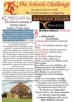 Bredon 2008 Schools Challenge results and newsletter