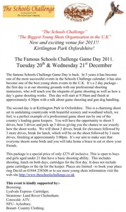 Young Shots Game Day 2011 - BOOK NOW!