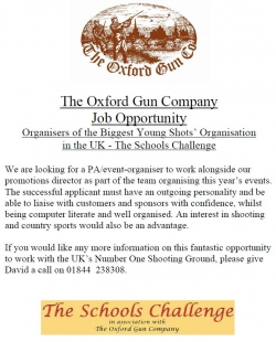 Events Job Vacancy at The Oxford Gun Company
