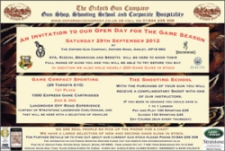 Game Season Open Day - 29th Sept