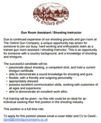 Gun Room Assistant/Instructor vacancy