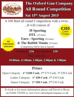 All Round Competition - Sat 15th August