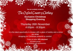 Country Clothing Christmas Shopping Event - 26th November