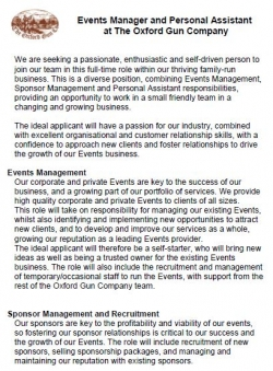 Events Manager/PA Vacancy