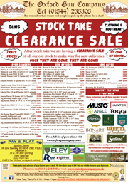 Stock Take Clearance Sale!