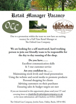 Retail Manager Vacancy