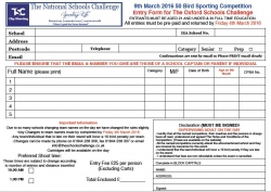 TSC Entry Forms for 2017