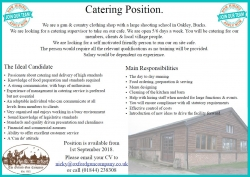 Catering vacancy at OGC