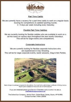 Vacancies - caddies & Instructors