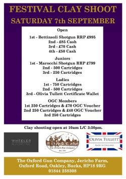 Festival Clay Shoot prizes