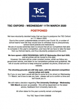 TSC 11th March - POSTPONED