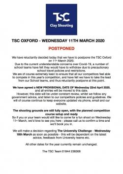 TSC 11th March - POSTPONED