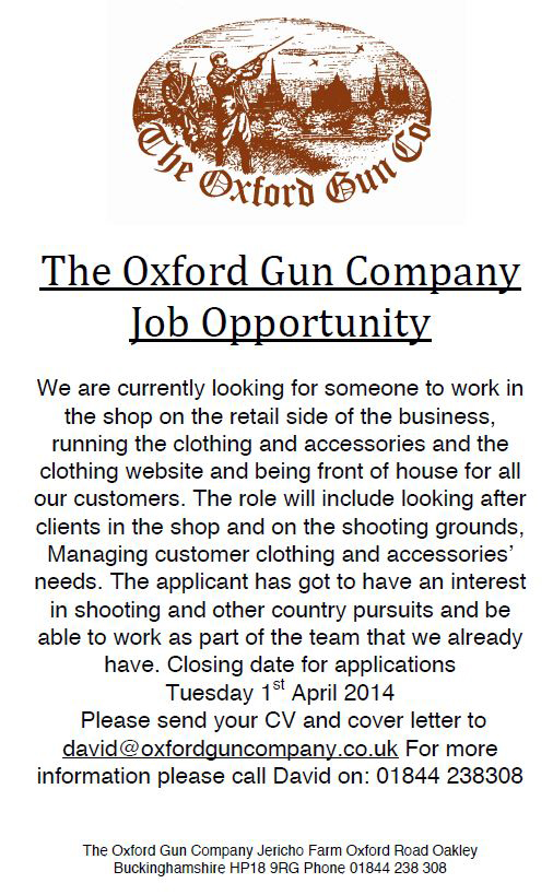 Job advert for The Oxford Gun Company